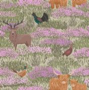 Lewis & Irene - Celtic Coorie - 6770 - Wildlife in the Heather on Beige - A413.1 - Cotton Fabric